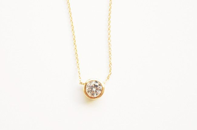 18 K gold plated Solitaire Austrian crystal pendant chain