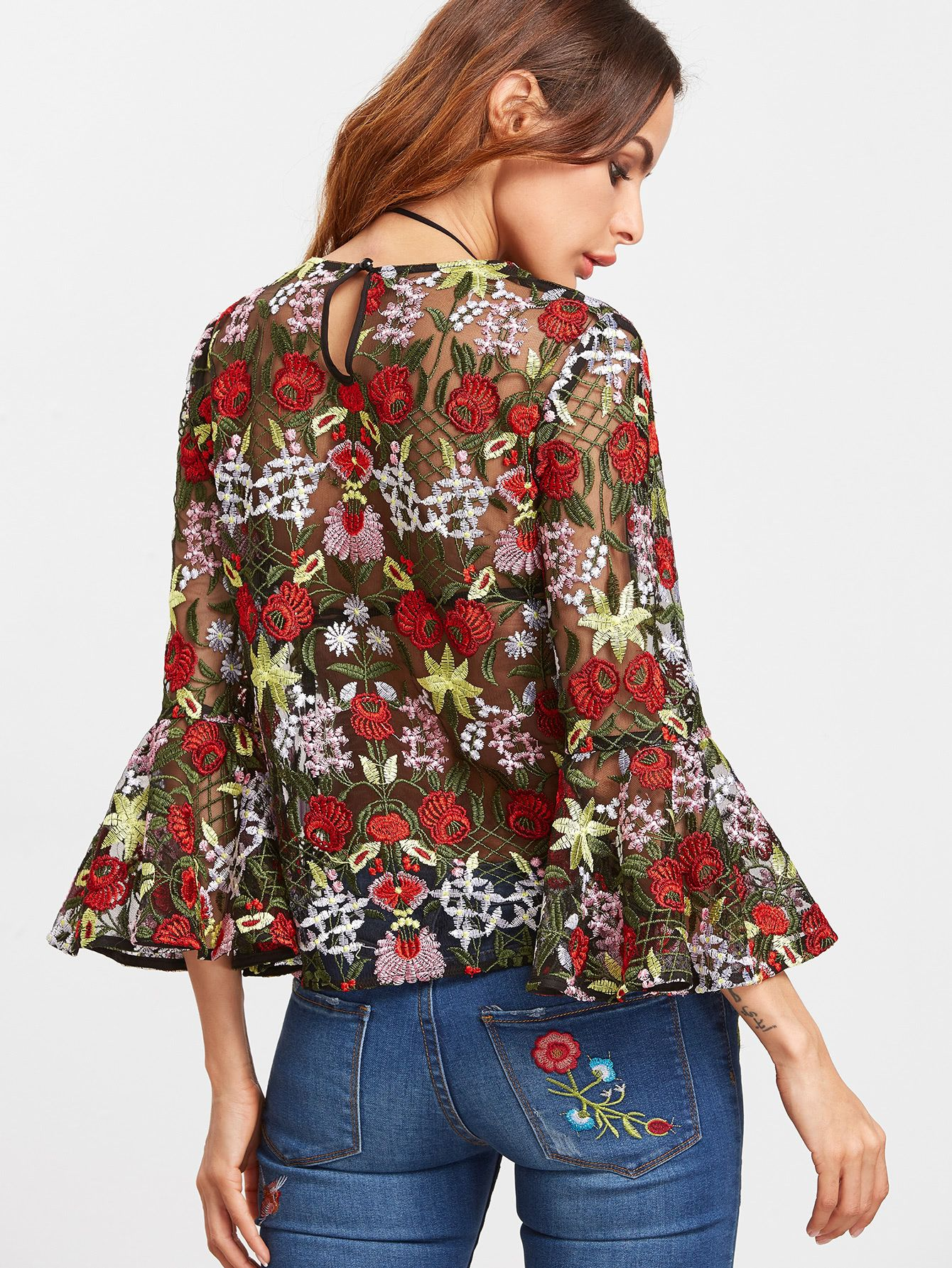 8f1ea60c004c7 Multicolor Bell Sleeve Flower Embroidered Mesh Top -SheIn(Sheinside ...