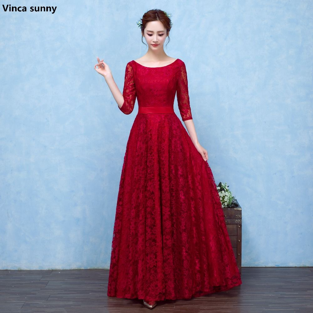 Click to buy ucuc vinca sunny new fashion burgundy long prom