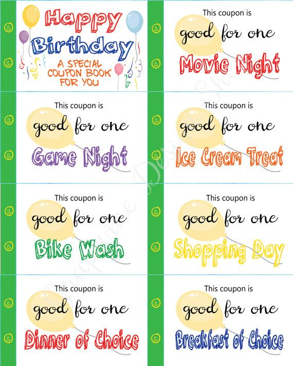 kids happy birthday coupon book 35 coupons 4 blank coupons child