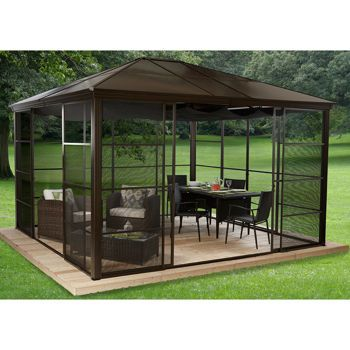 This Might Be A Good Idea For A Closed In Screen Porch Patio Gazebo Backyard Relaxing Backyard