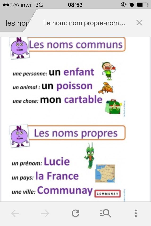 Exemple de nom communs et propres   Français   Pinterest ...