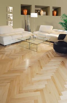 Chevron Mirage Hardwood Floor Maple Natural Herringbone