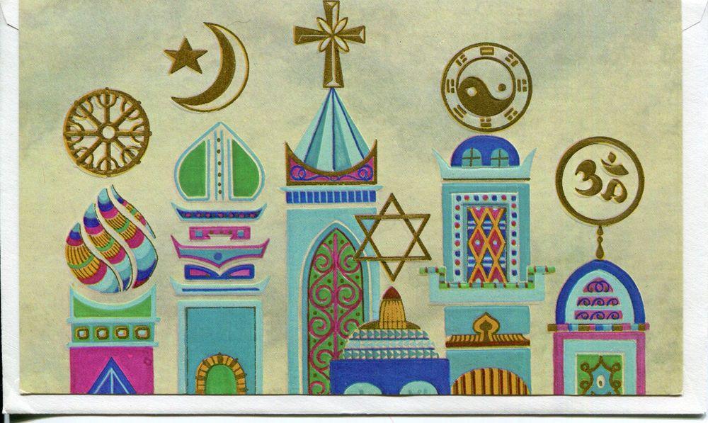 Unused Vintage Famous Artists Christmas Card Multi Faith Symbols W