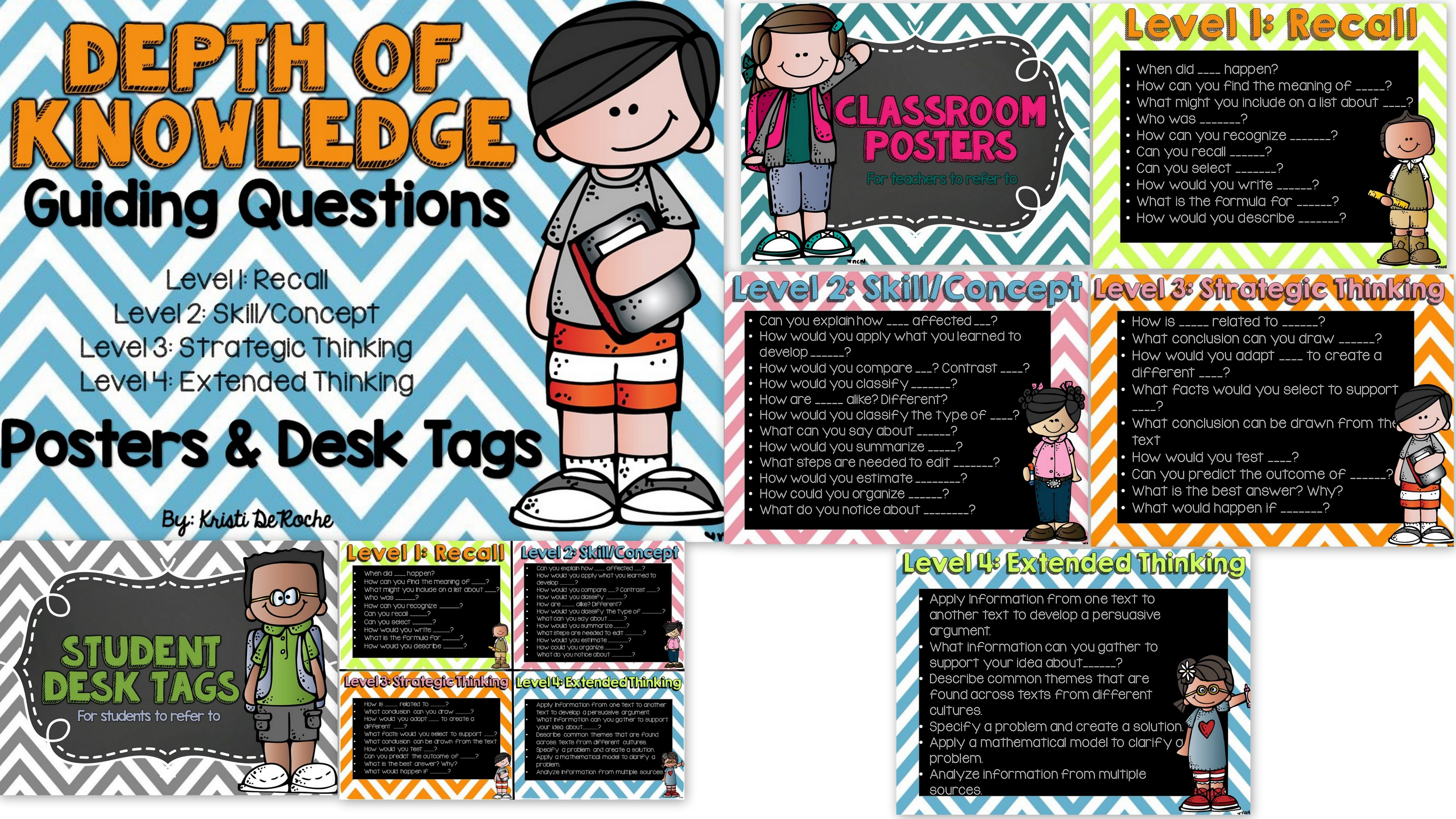 Depth Of Knowledge Guiding Questions Posters And Student