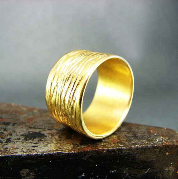 stream wide wedding band 18k yellow solid gold band cigar band wedding ring for