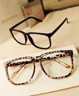 6dfc4cba70a G038 non-mainstream vintage leopard print large black plain eyeglasses frame  rubric for belt lenses  41.00