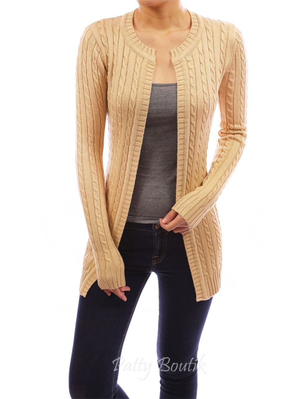 Cable Knit Open Front Cardigan | Cable, Open front cardigan and ...