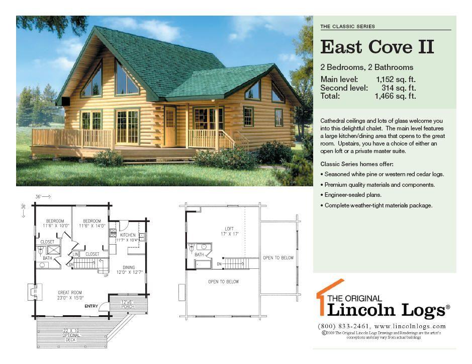 East cove ii floor plan lincoln log homes dreaming also cabin rh pinterest