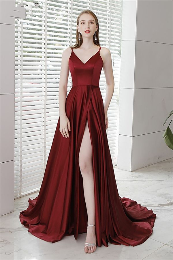 Strapless gown high slit slim ball gown sexy Burgundy graduation gown