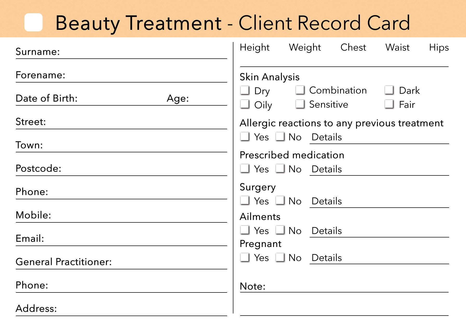 Beauty Client Card Treatment Consultation Card In
