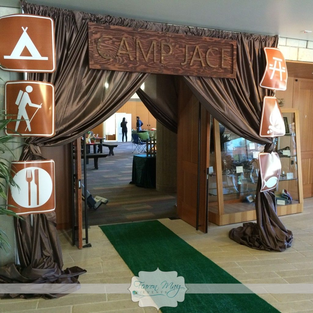 Camping themed party camping themed grand entrance camp for Camping room decor