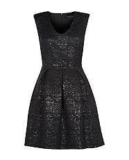 Black (Black) Black Metallic Paisley Jacquard Skater Dress | 290523601 | New Look
