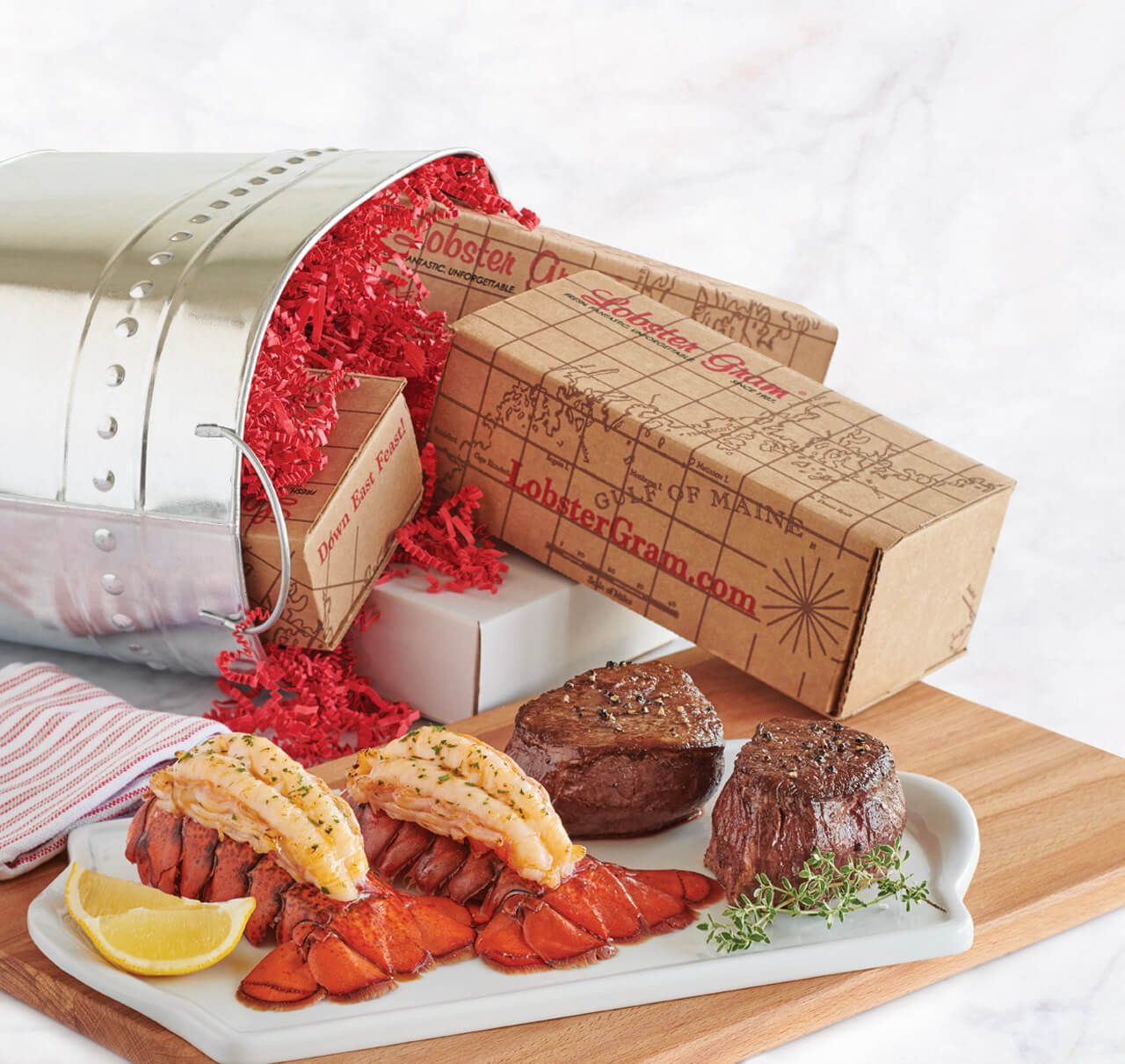 Maine Live Lobster Steak Seafood Dinners Delivered At Lobstergram Com Steak And Seafood Seafood Dinner Live Lobster