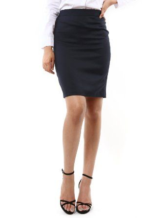 c710e2bf4 Doublju Womens Stylish Slim Fit Office Knee Length Skirts (KWS001): Amazon.com:  Clothing