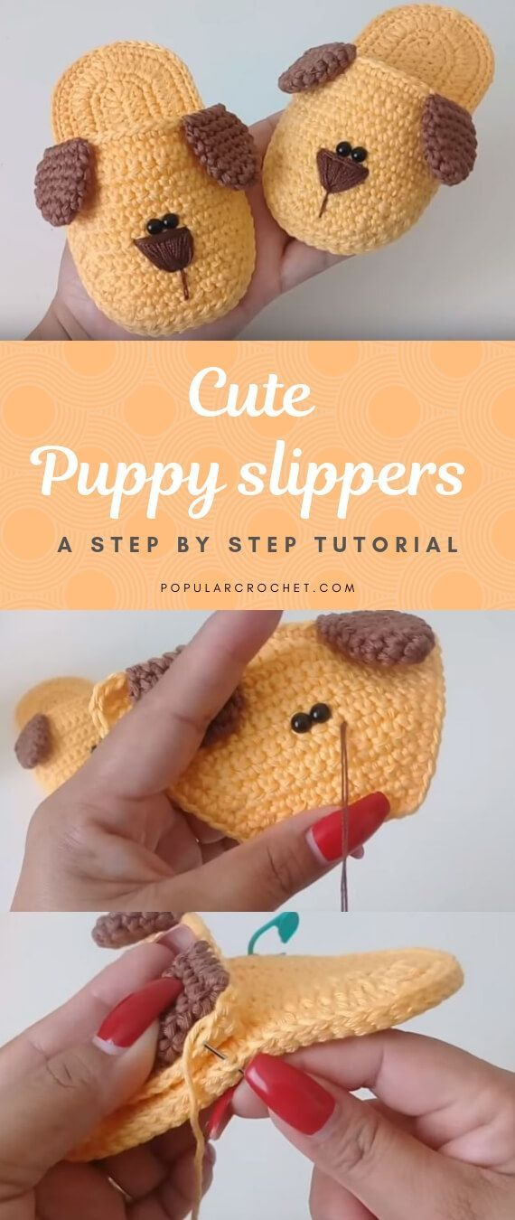 Crochet puppy slippers #crochetbabyshoes