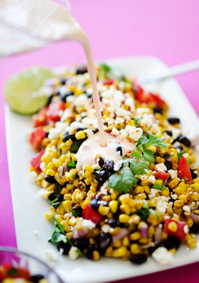 This Mexican Street Corn Salad is a healthy, simple take on elote, the delicious Mexican street vendor version of corn on the cob!