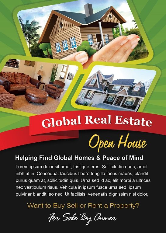 Open House Flyer Design - Green Theme (Photoshop Version) Free