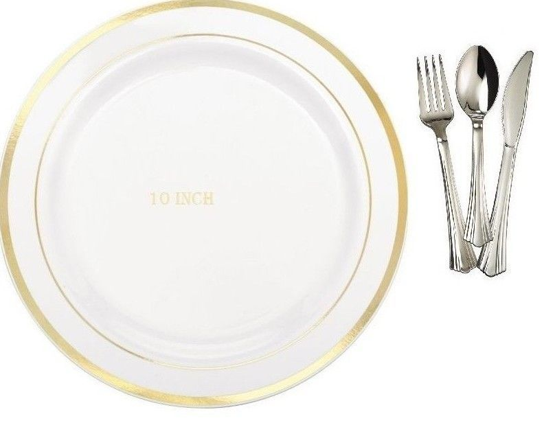 Bulk Dinner / Wedding Disposable Plastic Plates \u0026 silverware silver rim or gold rim. Our White Premium Quality Plastic Plates with silver rim or gold Trim ...  sc 1 st  Pinterest & 10\u0027\u0027 Dinner / Wedding Disposable Plastic Plates \u0026 silverware white ...
