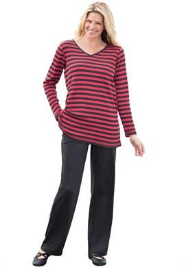 857781dd94c Striped thermal knit sweatshirt tunic and pants set  plussize Sets from   womanwithin  wishlist