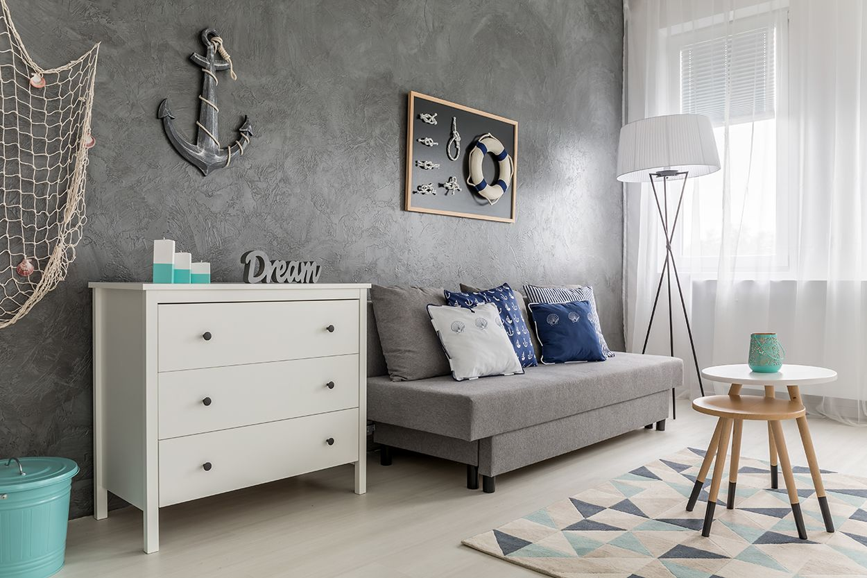 Painted Dresser In Nautical Theme Room Living Room And Bedroom Coastal Ideas Dresser Color Is Cottage Paint Whit Home Decor Decor #painted #furniture #in #living #room