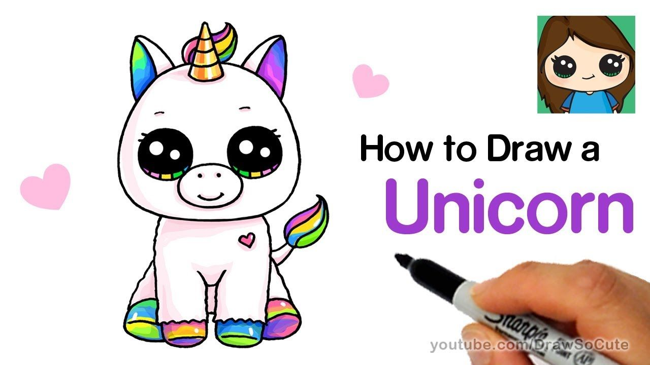 How To Draw A Baby Unicorn Easy Beanie Boos Unicorn Drawing