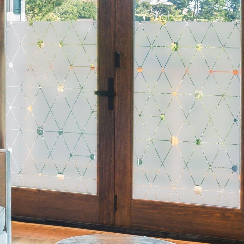 Decoratif Et Occultant Le Sticker Pour Vitre Au Motif Jacquard Moderne Est Tres Tendance Avec Ses Motif Frosted Glass Design Glass Design Glass Etching Designs