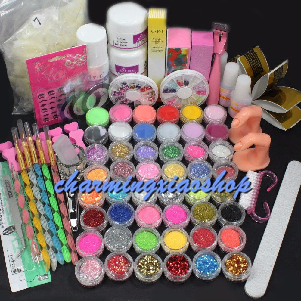 Pro Gel Nails Set Acrylic Liquid Nail Art Brush Glue Glitter Powder ...