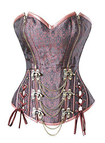 Womens Steampunk Corset Vintage Lace up Boned Waist Cincher Overbust Bustier Top