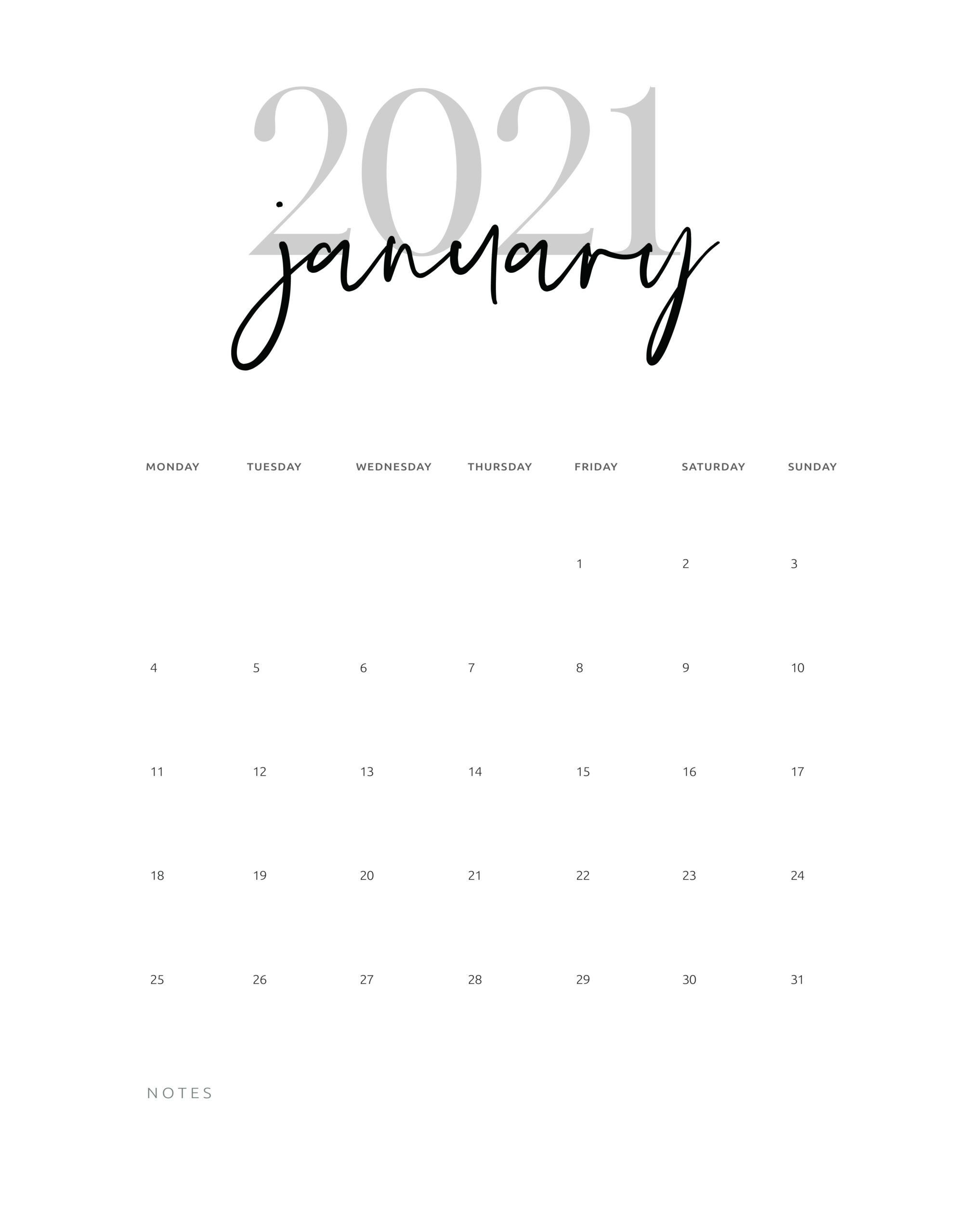 January 2021 Calendar Printable Cursive Calendar Printables Printable Calendar Template Modern Calendar