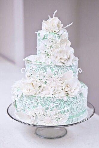 Lace flowers blue wedding cake