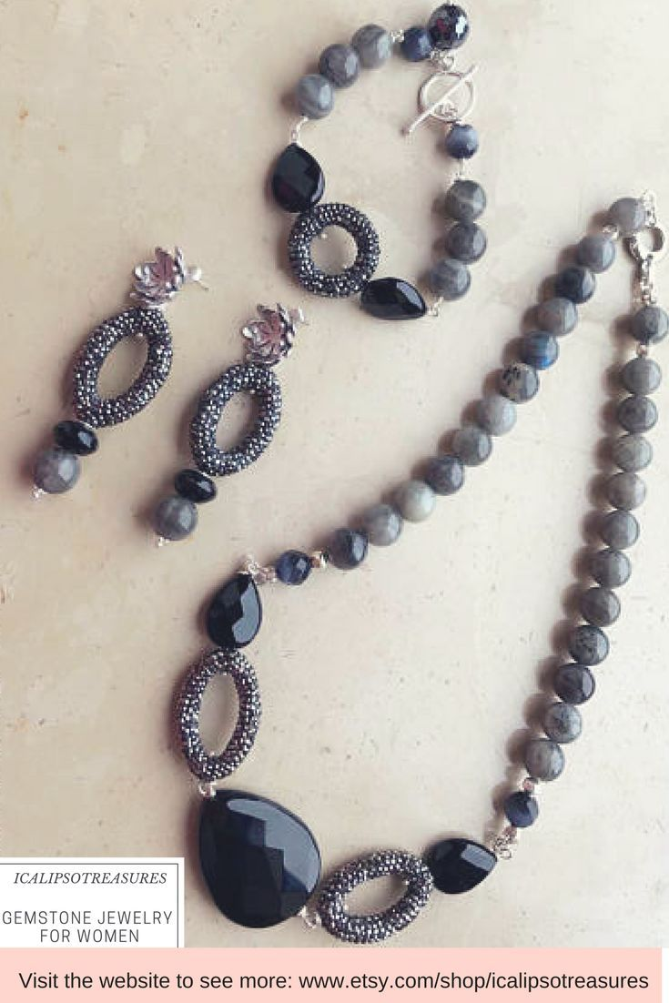 Elegant labradorite jewelry set, perfect as birthday gift for wife, bridesmaid gift set, Valentines day gift for girlfriend, anniversary or galentines gift for yourself or your mom, this exclusive set is made of great materials and has a unique style that will embellish the look of the woman that will wear it. Visit the website to see more.