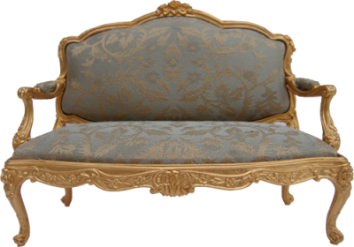 Louis XV Style Gilt Settee Upholstered In Blue/gold Damask Silk. A Lovely  Setting Can Be Made Using One Settee And Two Louis XV Style Arm Chairs.