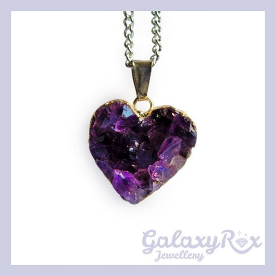 Image of Small Amethyst heart cluster pendant (this one I have and it's lovely)