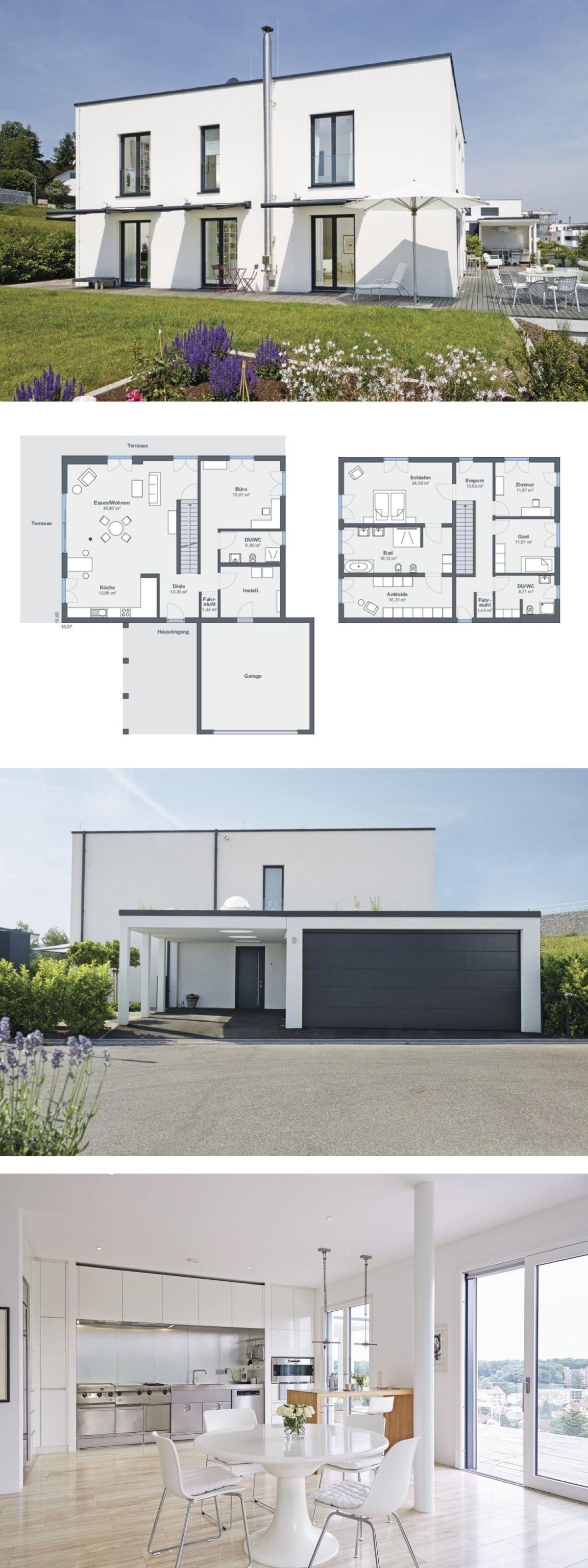Modernes design haus im bauhausstil mit garage flachdach for Modernes einfamilienhaus grundriss