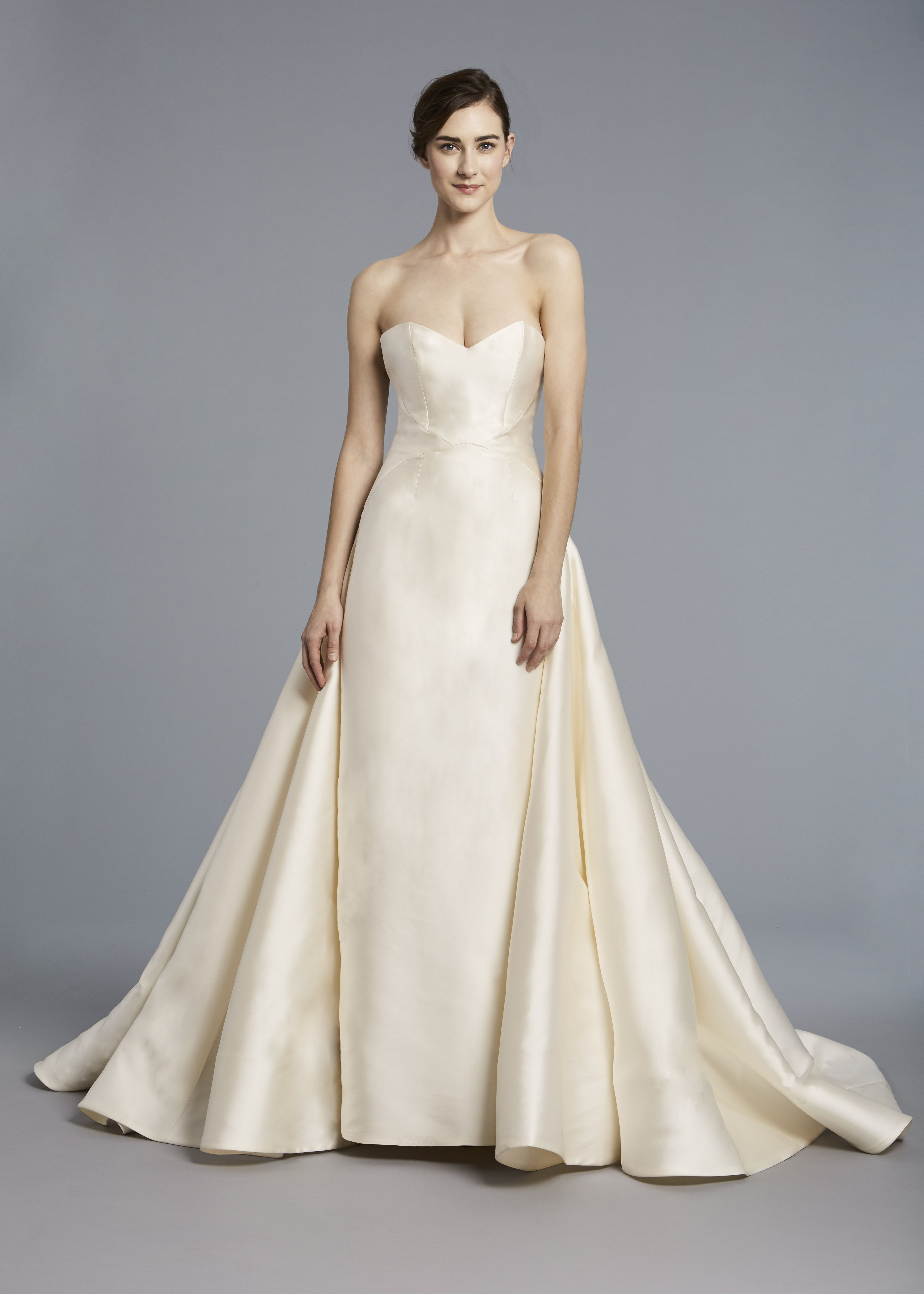 51b339d0e3df RADZIWILL - Anne Barge, Spring 2018 | Strapless sheath wedding dress  architecturally seamed with an attached overskirt of silk mikado