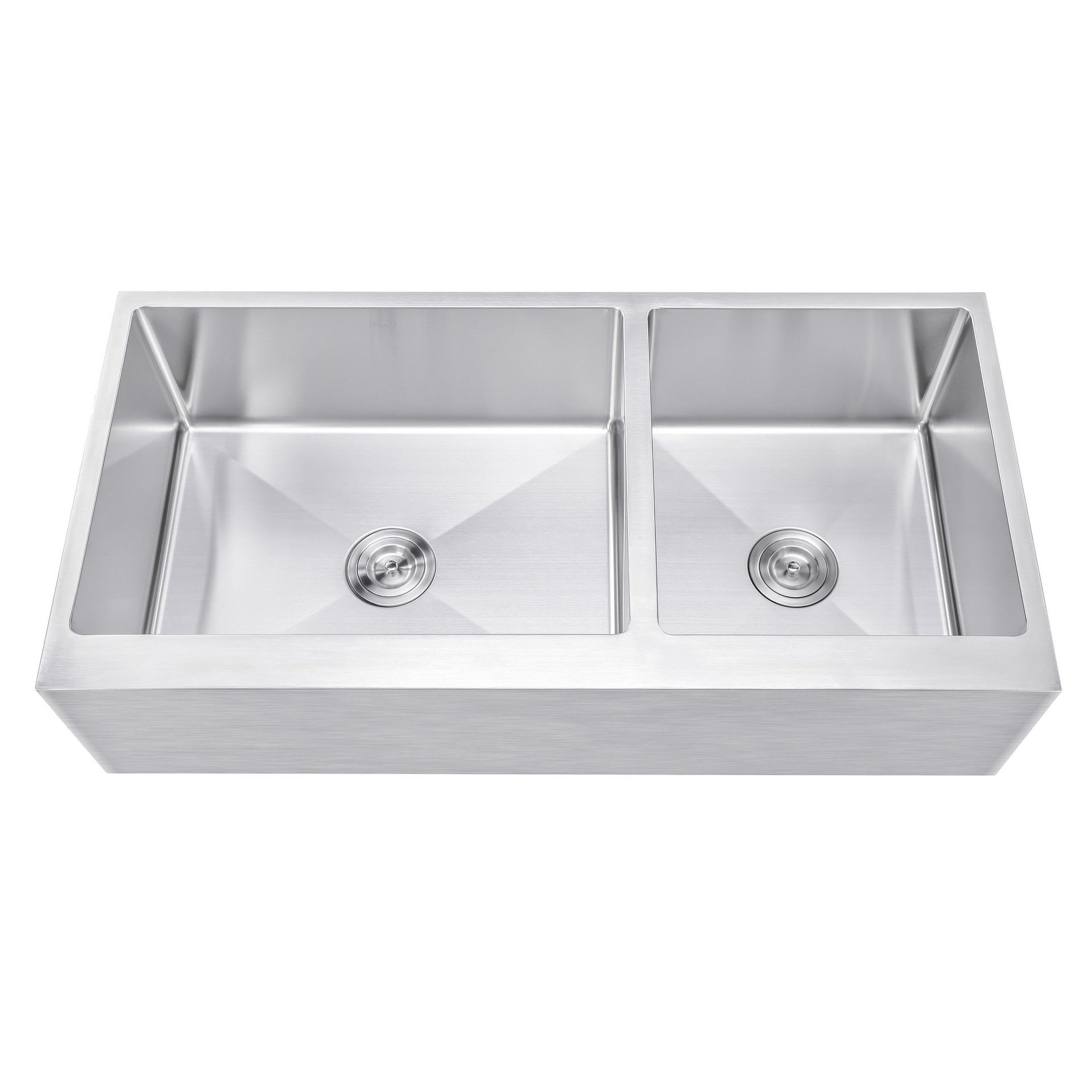 Ariel 42 Inch 60 40 Offset Double Bowl Stainless Steel Farmhouse Sink Flat Apron Front 15mm Radius Coved Corners Stainless Steel Farmhouse Sink Apron Front Stainless Steel Kitchen Sink Sink