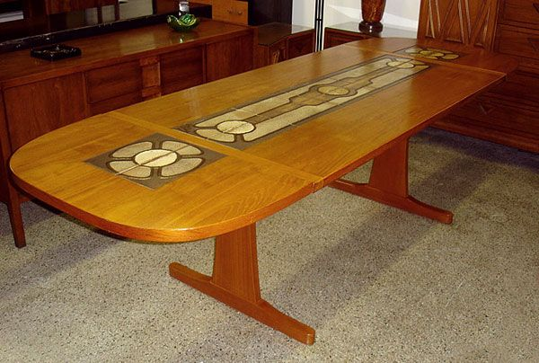 Dining Table With Tile Inlay Pattern