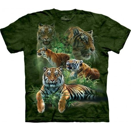 Mountain Big Cats Kids Youth Black Tie Dye T Shirt New Official Tiger Lion