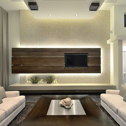 15 Splendid Modern Family Room Designs sciana tv dla Szocika