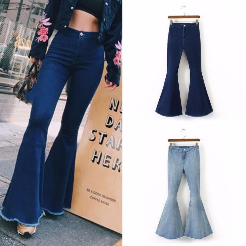 Fashion Ladies Ripped Wide Leg Denim Pants Flare Jeans Bell Bottoms Plus Size