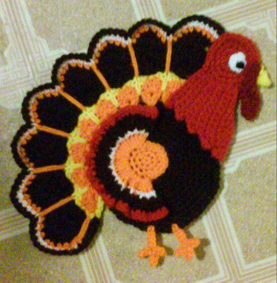 Crochet Tom TheTurkey Potholder Pattern Only por 3ThreadinBettys ...