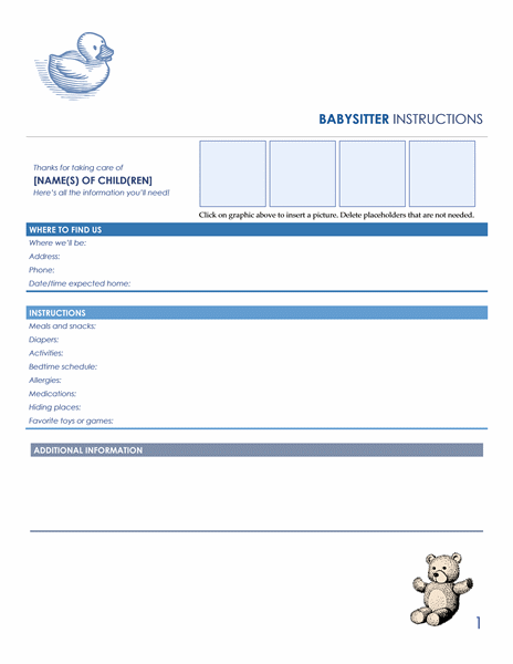 Against Medical Advice Form Babysitter Instructions Form Template