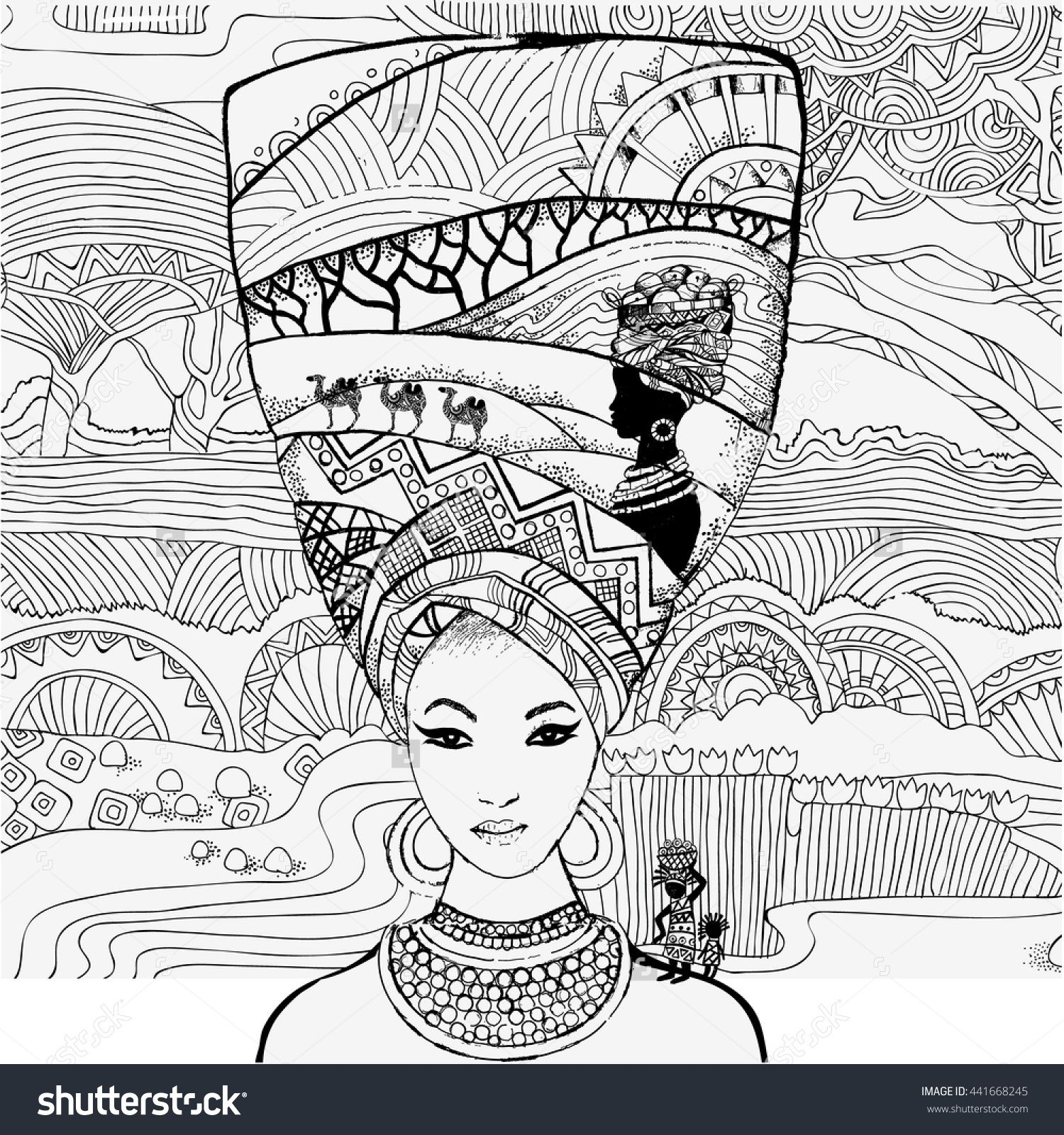 Beautiful African Woman On The Background Of The African Landscape Coloring Pages Stock Vector Illust Mandala Coloring Pages African Paintings African Drawings