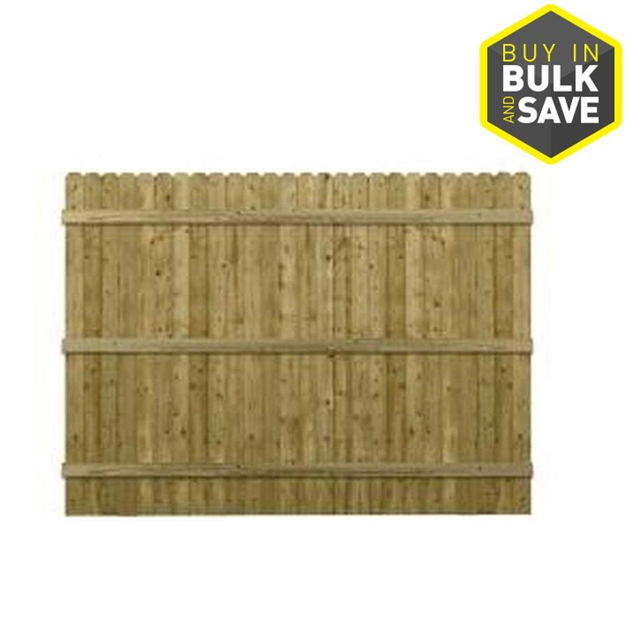 Actual 6ft x 8ft Green Pressure Treated Southern Yellow Pine Dog Ear Wood Fence Panel at 6ft