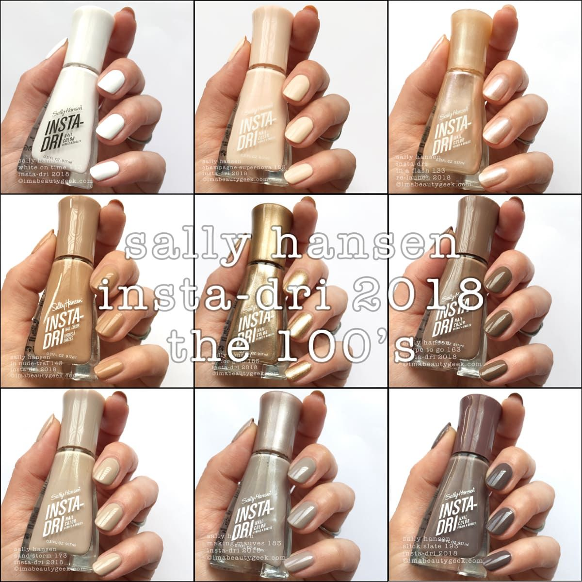 SALLY HANSEN INSTA-DRI SWATCHES REVIEW 2018 – PART 1 OF 5