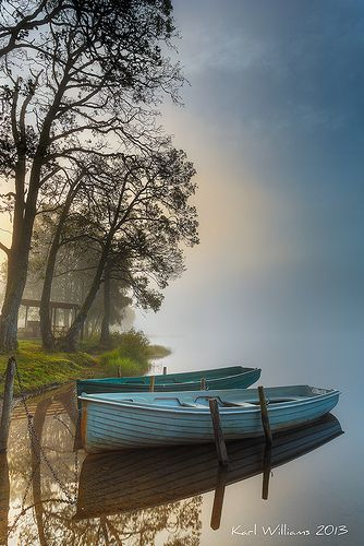 Boats, Loch Achray, Trossachs by Karl Williams