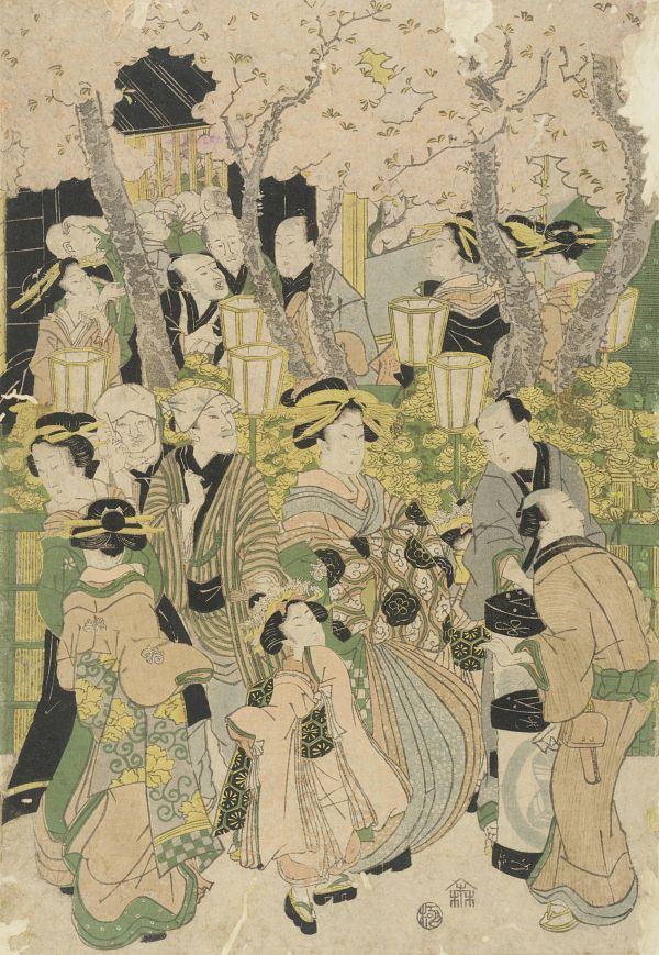 Merry makers at cherry blossom festival by Yeisen, 19th century