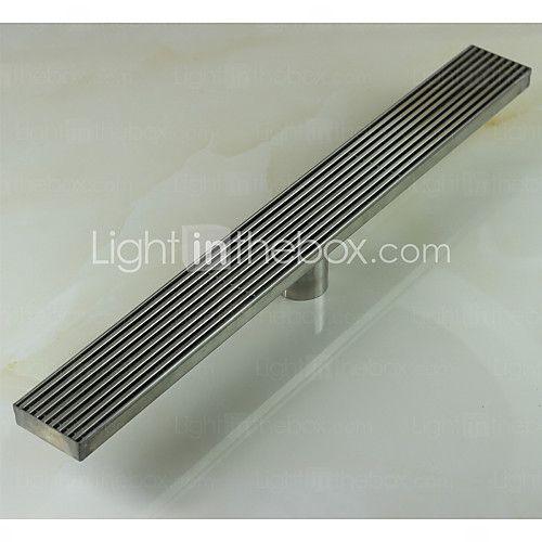 Linear Floor Shower Drain Stainless Steel Adjustable Exit Plain Model - USD $47.99