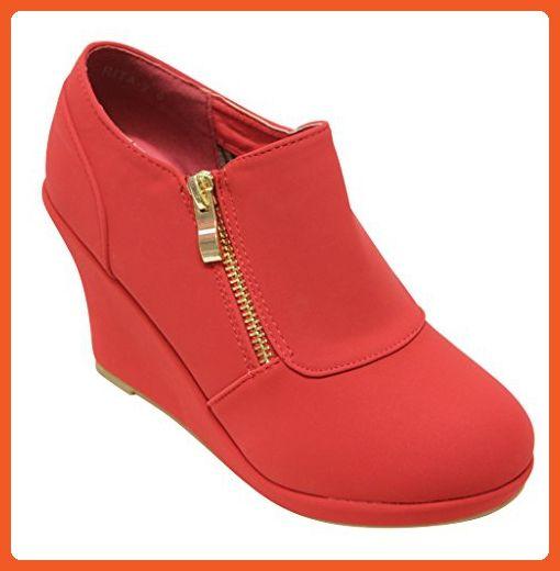 Top Moda Rita-2 women's platform wedge side zip closure nubuck ankle booties Red 7 - Boots for women (*Amazon Partner-Link)